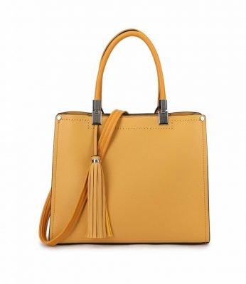 Handtas Yara Tassle geel gele dames handtassen schoudertassen kantoor giulliano tassen kopen