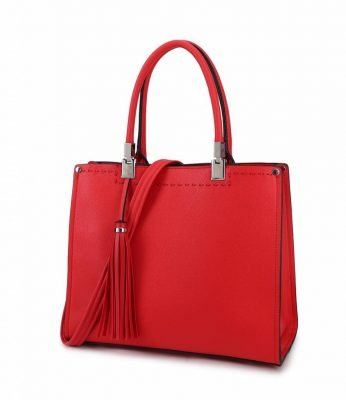Handtas Yara Tassle rood rode dames handtassen schoudertassen kantoor giulliano tassen kopen side