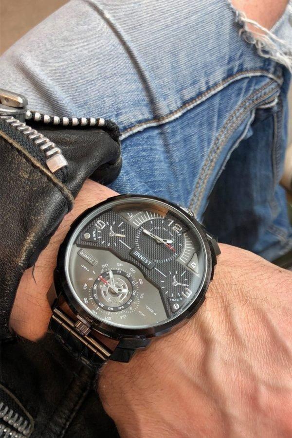 Herenhorloge Rough Metal zwart zwarte zilver zilveren stoere brede rvs mannen horloges mannenhorloges men watches online kopen ernest horloges