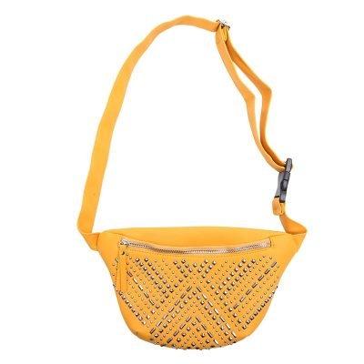 Heuptas Studs geel gele stoere heup tas zilveren studs Fanny Pack heuptasje dames fashion musthave tassen festival heuptassen rits