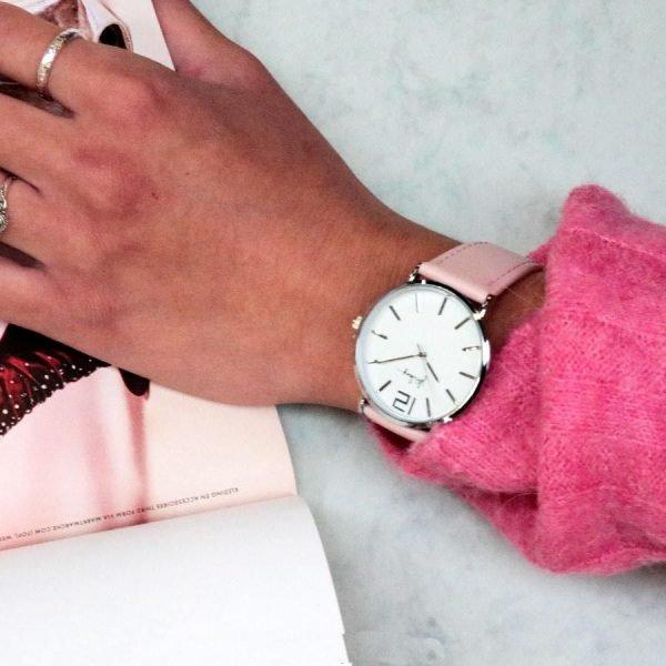 Horloge Time flies roze pink band zilveren kast musthave dames horloges fashion horloges rvs roestvrij staal online bestellen watches kopen