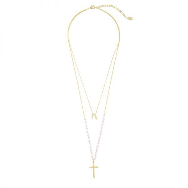 Ketting Beaded Cross goud gouden dames ketting met roze kraaltjes en kruis laagjes kettingen necklages fashion accessoires