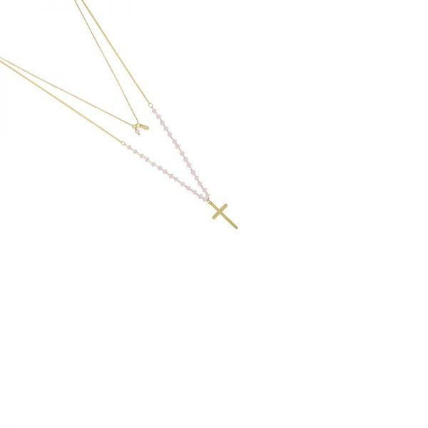 Ketting Beaded Cross goud gouden dames ketting met roze kraaltjes en kruis laagjes kettingen necklages fashion accessoires kopen