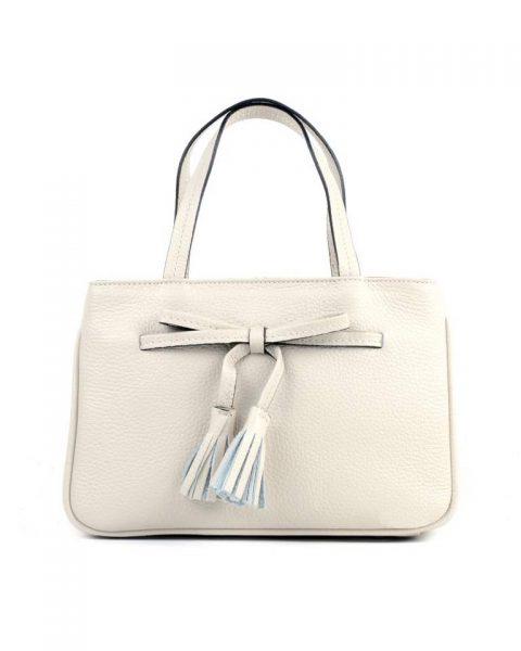 07faa709092 Lederen Handtas strik wit witte leren dames tassen strik detail kwastjes  voor musthave look a like