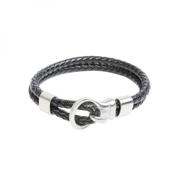 Leren Armband Brother zwart zwarte stoere gevlochten armbanden met zilveren slot luxe kado mannen online bestellen Bracelet for men cadeau nu