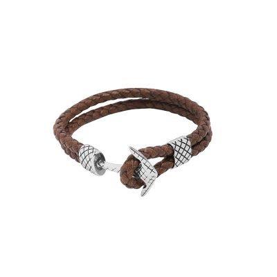 Leren Armband Gentleman bruin bruine stoere gevlochten armbanden met donker zilveren slot luxe kado mannen online bestellen Bracelet for men cadeau nu