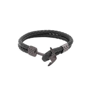 Leren Armband Gentleman zwart zwarte stoere gevlochten armbanden met donker zilveren slot luxe kado mannen online bestellen Bracelet for men cadeau nu