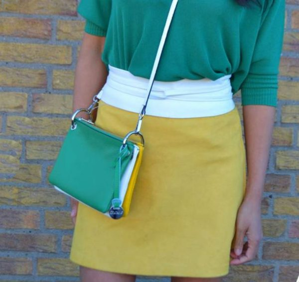 Leren Clutch Trio Kleur gele wit groen geel witte groene clutches schoudertassen giuliano kopen