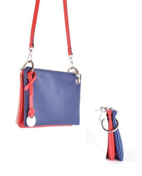 Leren Trio clutch blauw rood wit vlag 3 kleurige clutches schoudertassen online kopen giuliano