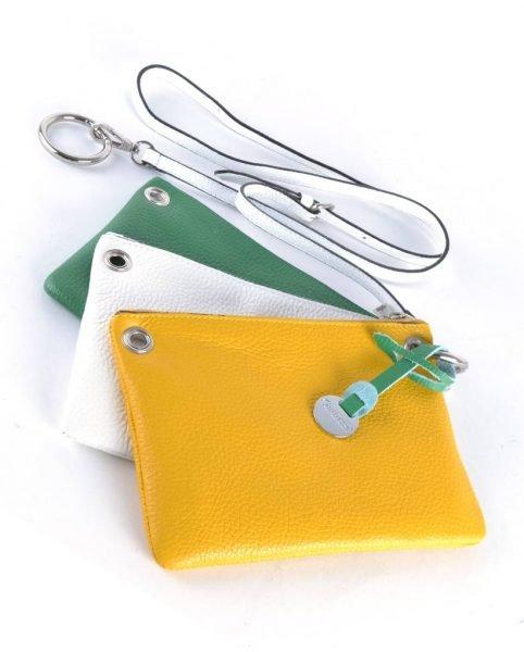Leren Trio clutch geel wit groen 3 kleurige clutches schoudertassen online bestellen giuliano