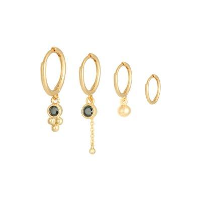 Oorbellen Setje Happy Stones goud gouden dames oorbellen 4 oorbellen met steentjes rvs earrings trendy bestellen