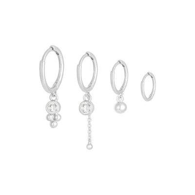 Oorbellen Setje Happy Stones zilver zilveren dames oorbellen 4 oorbellen met steentjes rvs earrings trendy bestellen