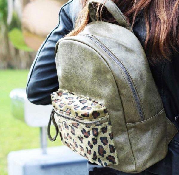 Rugtas Cool Leopard groen groene rugzak leopard print detail rugtassen fashion rugtassen dames tassen online bestellen