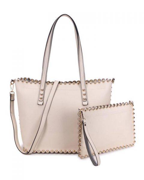 Shopper & Clutch Studs apricot beige nude bag in bag tas met binnentas gouden studs musthave tassen itbags look a like tassen fashionbags online giuliano