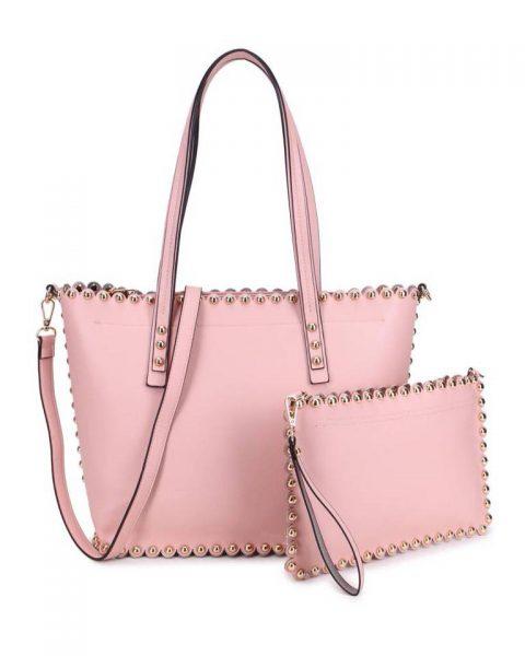 c5194f9c087 Shopper & Clutch Studs roze pink bag in bag tas met binnentas gouden studs  musthave tassen