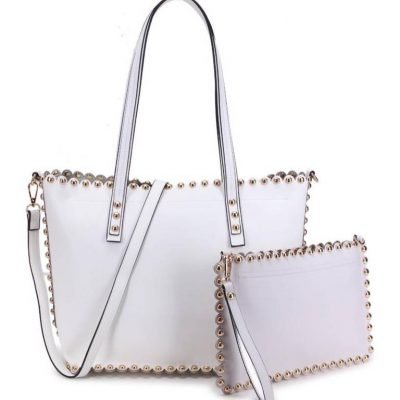 Shopper & Clutch Studs wit witte bag in bag tas met binnentas gouden studs musthave tassen itbags look a like tassen fashionbags online giuliano