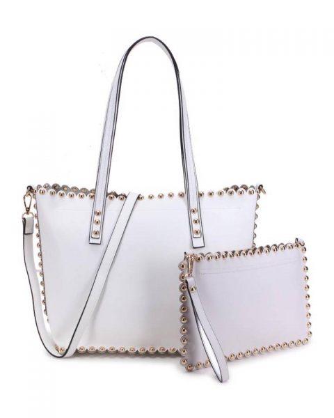 Shopper & Clutch Studs wit witte bag in bag tas met binnentas gouden studs musthave tassen itbags look a like tassen fashionbags online giuliano