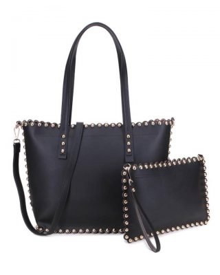 Shopper & Clutch Studs zwart zwarte bag in bag tas met binnentas gouden studs musthave tassen itbags look a like tassen fashionbags online giuliano