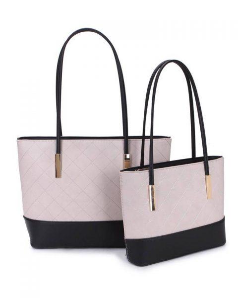 Shopper set Fashion licht grijs grijze zwart zwarte 2 kleurige shoppers set kleine grote shopper musthave tassen goud beslag kunstleder online bestellen achterkant