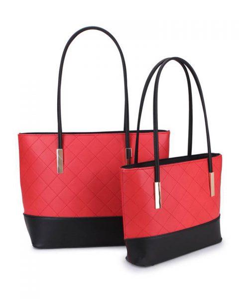 Shopper set Fashion rood rode zwart zwarte 2 kleurige shoppers set kleine grote shopper musthave tassen goud beslag kunstleder online bestellen achterkant