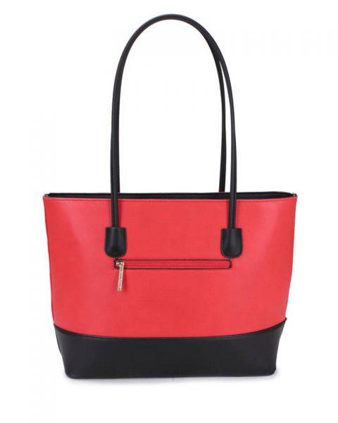 Shopper set Fashion rood rode zwart zwarte 2 kleurige shoppers set kleine grote shopper musthave tassen kunstleder online bestellen achterkant