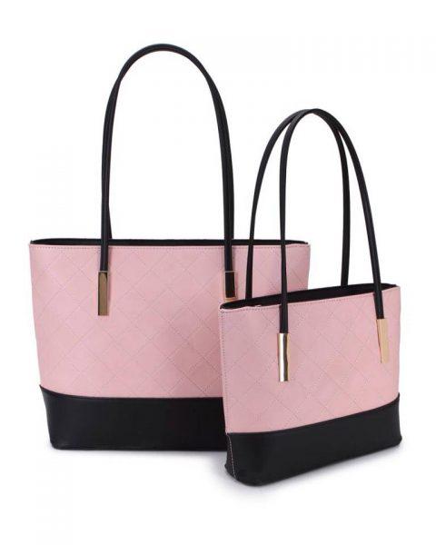 Shopper set Fashion roze pink zwart zwarte 2 kleurige shoppers set kleine grote shopper musthave tassen goud beslag kunstleder online bestellen achterkant