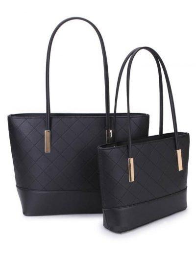 Shopper set Fashion zwart zwarte 2 shoppers set kleine grote shopper musthave tassen goud beslag kunstleder online bestellen achterkant
