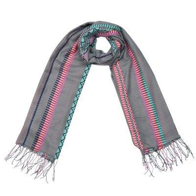 Sjaal Funky Vibes grijs grijze dames sjaals kleurrijke print aztec vrolijke polyester dames sjaal shawl ladies grey shop online