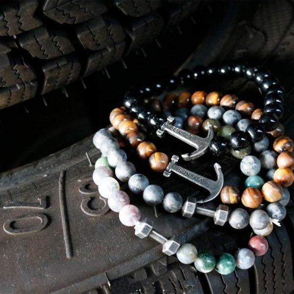 Stoere Mannen armbanden zilveren bedel anker dumbel Viking bruin bruine stoere kralen armbanden mannen met zilveren viking bedel kado mannen online bestellen Bracel