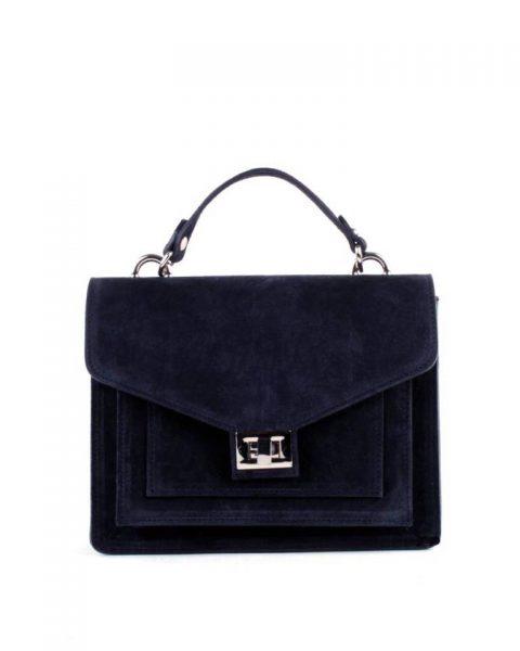Suede Handtas Classy blauw blauwe dames tassen koffertjes zilver beslag musthave look a like itbags online kopen bestellen giuliano