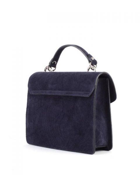 Suede Handtas Classy blauw blauwe dames tassen koffertjes zilver beslag musthave look a like itbags online kopen bestellen giuliano achter