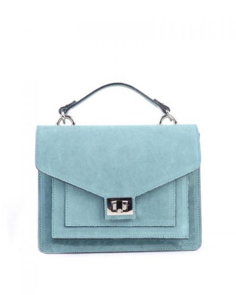 Suede Handtas Classy blauw blauwe dames tassen leder leer koffertjes zilver beslag musthave look a like itbags online kopen bestellen giuliano