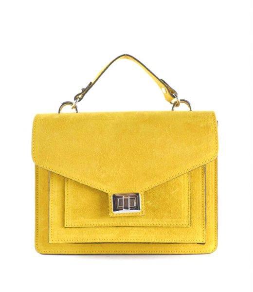 Suede-Handtas-Classy-geel gele-dames-tassen-koffertjes-zilver-beslag-musthave-look-a-like-itbags-online-kopen-bestellen-giuliano
