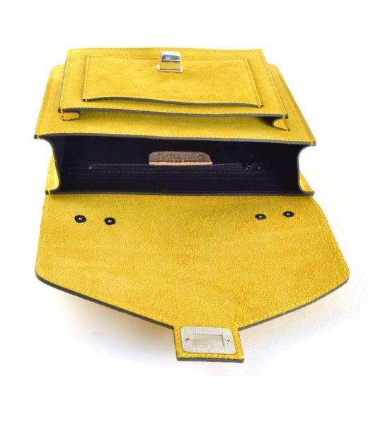Suede-Handtas-Classy-geel gele-dames-tassen-koffertjes-zilver-beslag-musthave-look-a-like-itbags-online-kopen- giuliano