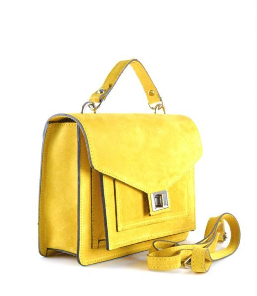 Suede-Handtas-Classy-geel gele-dames-tassen-koffertjes-zilver-beslag-musthave-look-a-like-itbags-online-kopen-sidegiuliano