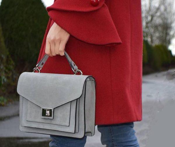 Suede Handtas Classy grijs grijze dames tassen koffertjes zilver beslag musthave look a like itbags online kopen bestellen giuliano