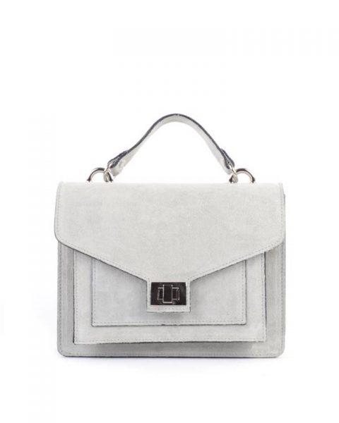 Suede Handtas Classy grijs grijze dames tassen leder leer koffertjes zilver beslag musthave look a like itbags online kopen bestellen giuliano