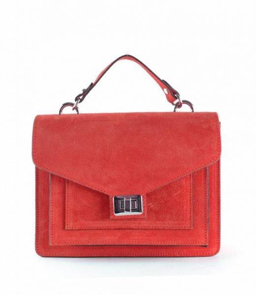 Suede-Handtas-Classy-rood rode-dames-tassen-koffertjes-zilver-beslag-musthave-look-a-like-itbags-online-kopen-bestellen-giuliano