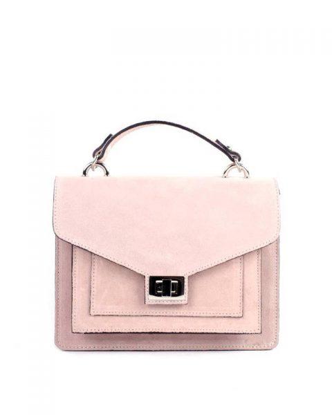 Suede Handtas Classy rose pink dames tassen leder leer koffertjes zilver beslag musthave look a like itbags online kopen bestellen giuliano