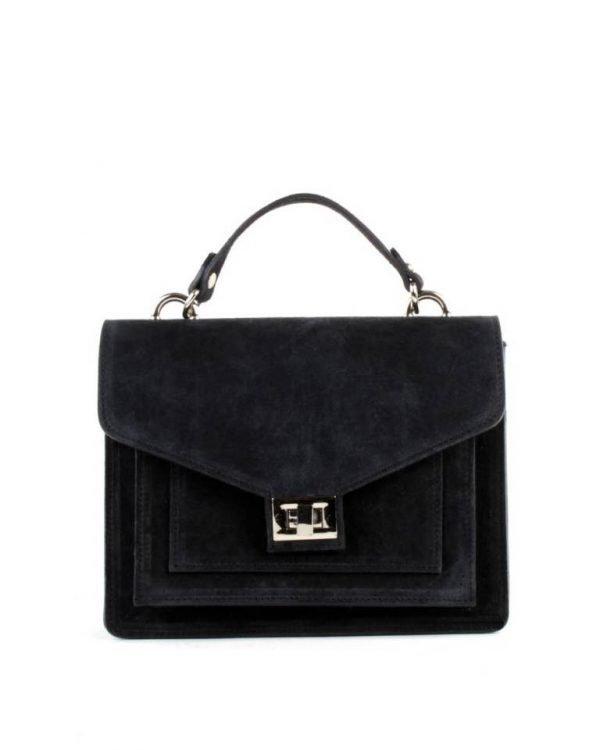 Suede Handtas Classy zwart zwarte dames tassen koffertjes zilver beslag musthave look a like itbags online kopen bestellen giuliano