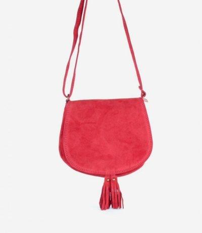 Suede-Schoudertas-Tassles-rood rode-leren-suede-tassen-klosjes-festival-tasjes-kleine-tassen-online-bestellen-giuliano