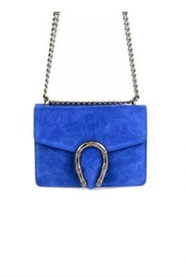 Suede-Tas-Hoefijzer blauw blauwe -kleine-leren-schoudertassen-met-kettinghengsel-en-hoef-ijzer-sluiting-musthave-giuliano-tassen-online-bestellen