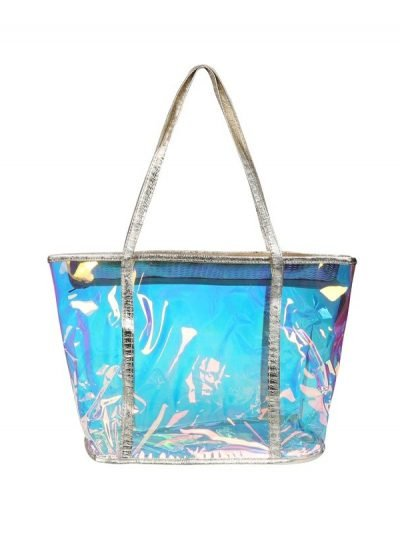 Tas Clear Mermaid blauw blauwe doorschijnende tassen strandtassen clear beachbag gouden hengsel see true musthave fashionbags