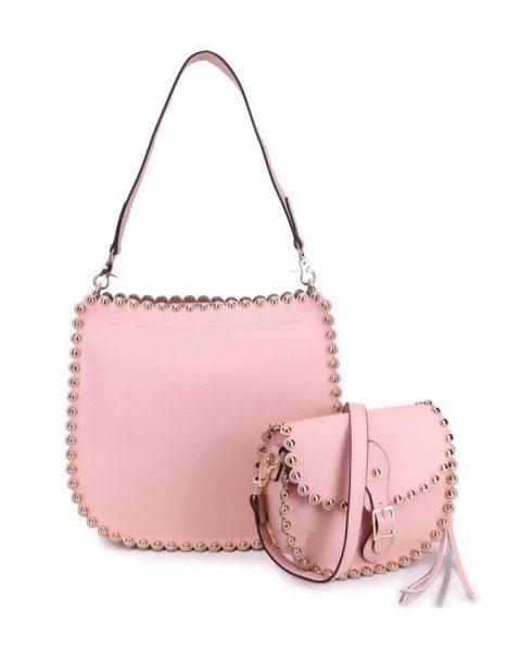 Tas & Schoudertasje Studs roze pink tas 2 tassen in 1 gouden studs musthave tassen itbags look a like tassen fashionbags online giuliano