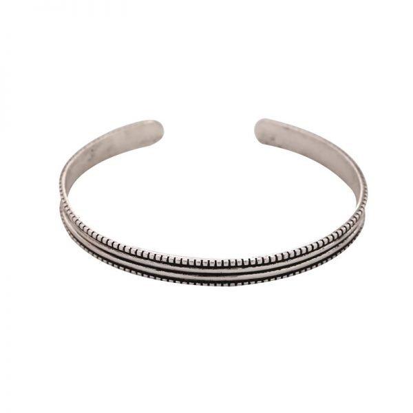 Zilveren Armband Ethnic Lines open zilver armbanden graveerde lijnen musthave open Bracelet ladies silver boho