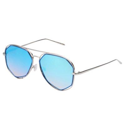 Zonnebril Square Pilot blauw blauwe dames zonnebrillen hoekig montuur zilver zilveren brillen online kopen trends voor
