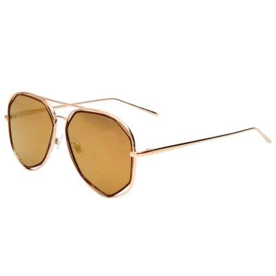 Zonnebril Square Pilot bruin bruine glazen dames zonnebrillen hoekig montuur goud gouden brillen online kopen trends