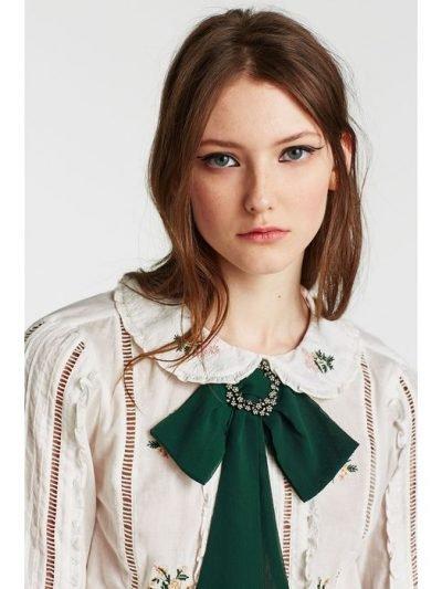 bow tie dames groen strik das met zilveren broche look a like