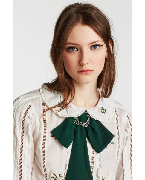 bow tie dames groen strik das met zilveren broche look a like