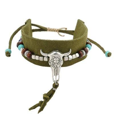 Armband-boho-beads groen groene seudine armband zilveren bedels bull veertjes dames armbanden koord veters shop online